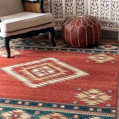 50 Most Popular 5 x 7 Area Rugs for 2018   Houzz nuLOOM   Southwestern Flamestitch Tribal Diamond Area Rug  Red  5 x7 5