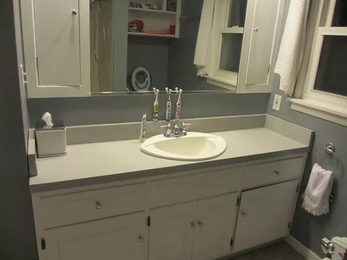 off centered faucet for vanity sink