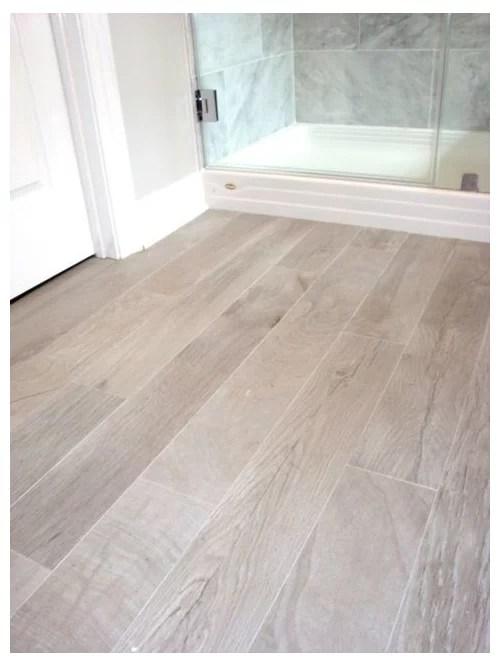 plank wood tile bathroom