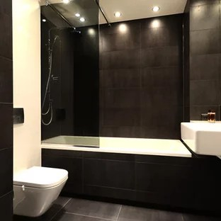 black terra cotta tile bathroom