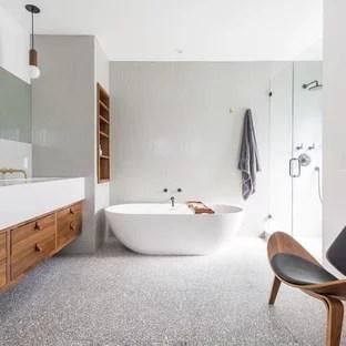 gray tile terrazzo floor bathroom