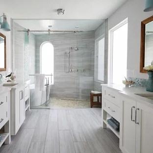 75 beautiful wood look tile bathroom