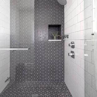 gray black and white tile bathroom