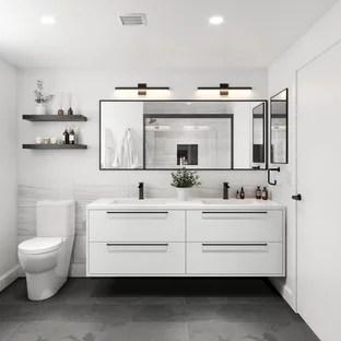 modern bathroom with a floating vanity