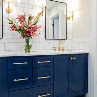 75 beautiful blue subway tile bathroom