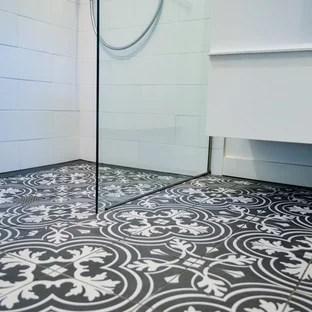 modern black and white tile bathroom