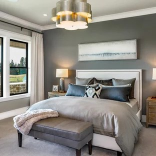 farmhouse bedroom with blue walls