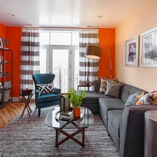 orange wall curtain houzz