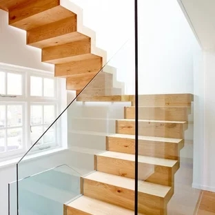 Glass Staircase Railing Houzz   Wood And Glass Staircase Railing   Before And After   Oak   Beautiful   Traditional U Shaped   Custom