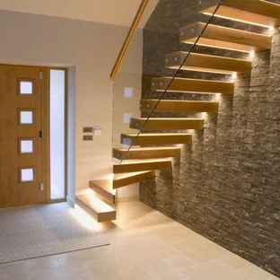 75 Beautiful Brown Floating Staircase Pictures Ideas September | Floating Stairs With Glass Railing | Wall | Commercial | Glass Staircase | Thin Glass | Modern