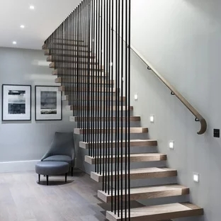 75 Beautiful Wood Stair Railing Pictures Ideas Houzz   Wood Stairs And Railings   New   Stairway   Architectural Modern Wood Stair   Color   Basement
