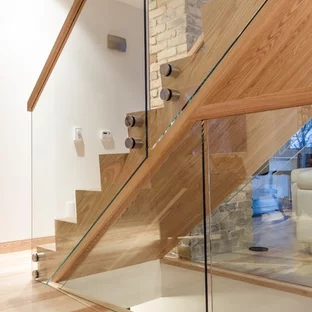 Glass Staircase Railing Houzz | Stairs Railing Design In Glass | Indoor Home Depot | Fancy | Painting | Modern | Interior Residential Metal
