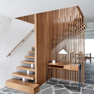 75 Beautiful Mid Century Modern Wooden Staircase Pictures Ideas   Modern Wooden Staircase Designs   Wood Carving Wooden Railing   Railing   Designer   Gallery   Layout