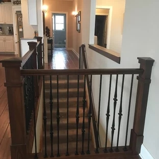 75 Beautiful Craftsman Staircase Pictures Ideas September   Craftsman Stair Railing Designs   Homemade   Simple 2Nd Floor Railing Wood Stairs Iron Railing Design   Entryway Stair   Plain Traditional Stair   Floor To Ceiling