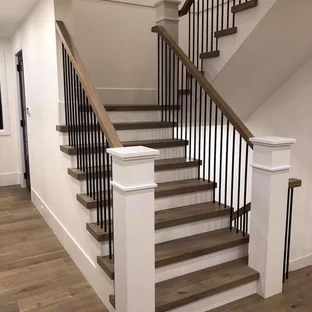 75 Beautiful U Shaped Staircase Pictures Ideas September 2020 | Staircase Design Steel And Wood | Angle Bar Stair | U Shaped Stair | Simple | Wooden Step | Open