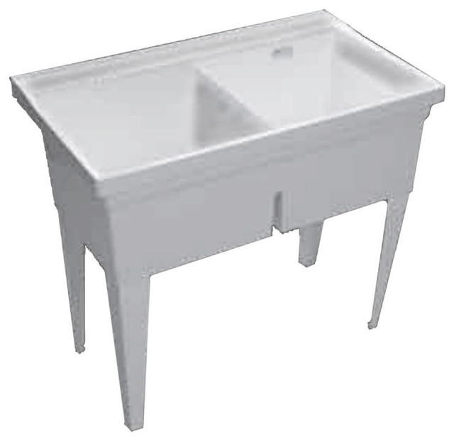 proflo pflt4024w double basin wall mounted laundry sink white