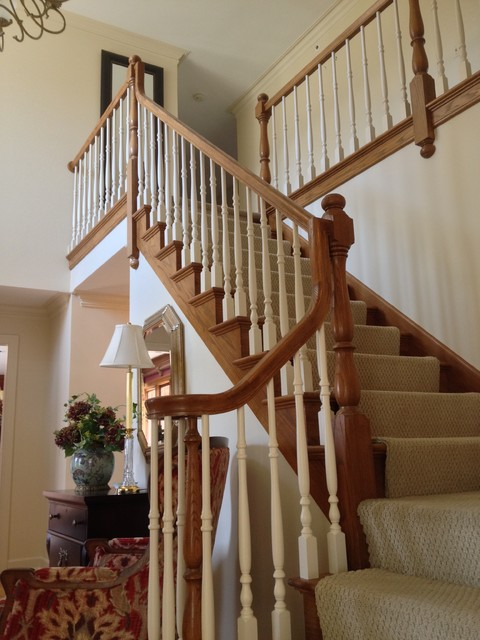 Oak Railing After Painting Spindles