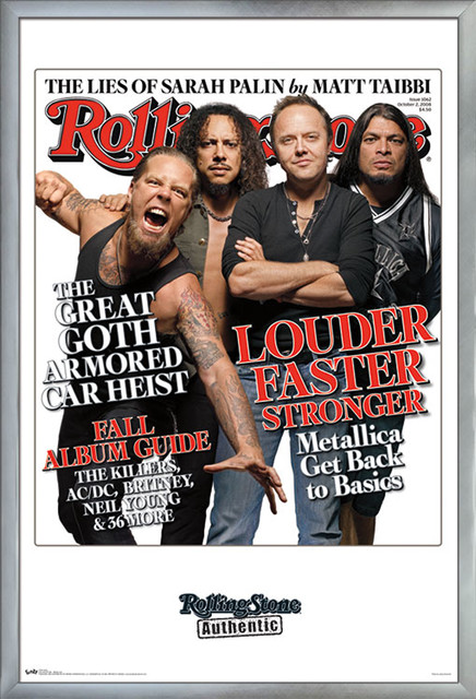 rolling stone metallica poster silver framed version