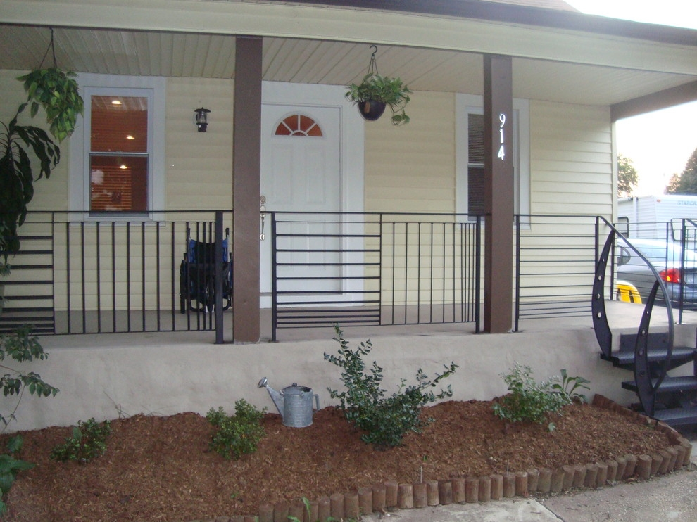 Front Porch Railings Contemporary Porch Philadelphia By   Railing For Concrete Patio   Wood   Vinyl   Custom   Rectangle Concrete   Deck