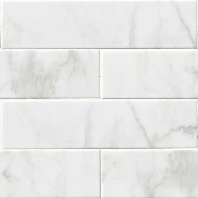 ceramic glossy subway tiles carrara white 30 pieces 4x16