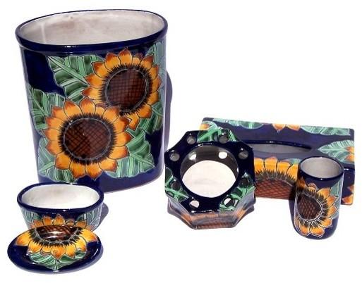 sunflower talavera ceramic bathroom set - farmhouse - bathroom