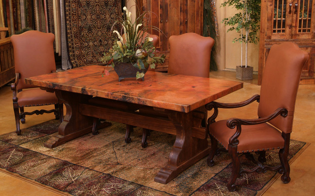 Tuscan Copper Trestle Dining Table
