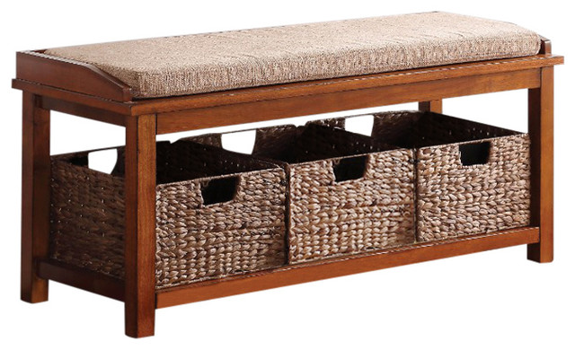 letha bench with storage light brown microfiber and walnut