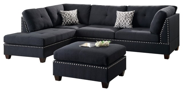 Hillsdale Sectional Sofa Set  Black   Contemporary   Sectional Sofas     Hillsdale Sectional Sofa Set  Black