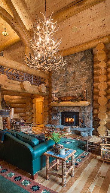 Big Moose, New York Log Home rustic-living-room