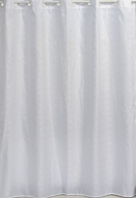 hookless shower curtain polyester cubic white