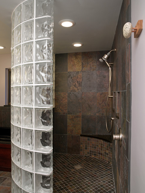 Glass Block Shower Traditional Bathroom Cleveland