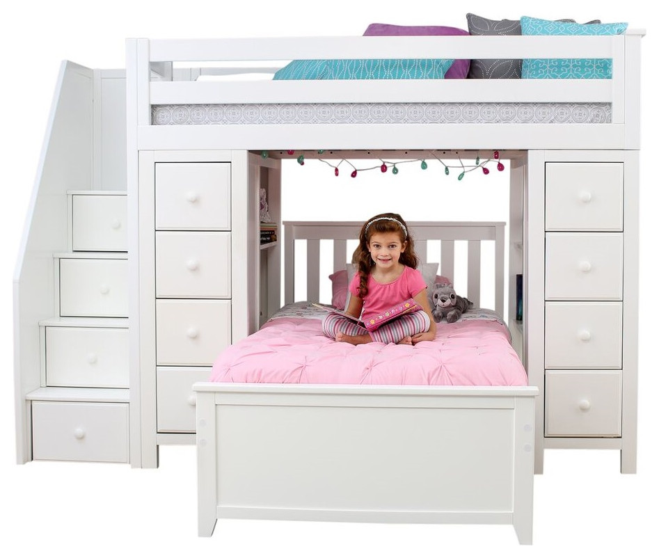 chelsea twin twin l shaped storage loft bed with stairs white