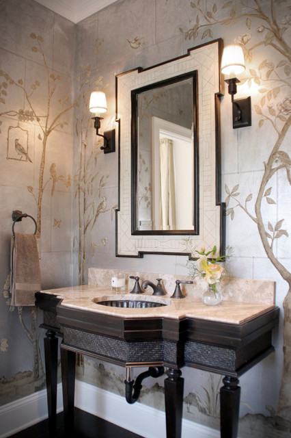 Chinoiserie Formal Powder Room Traditional Powder Room Cleveland By House Of L Interior