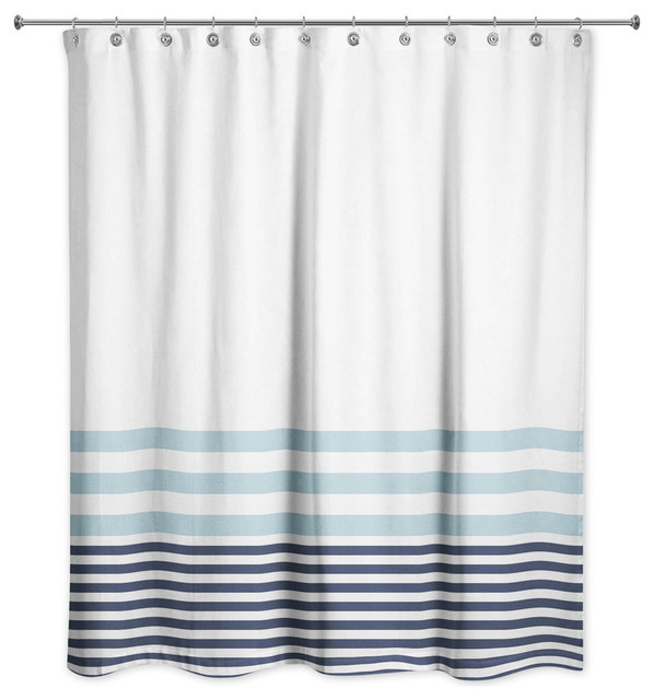 light blue and navy stripes 71x74 shower curtain