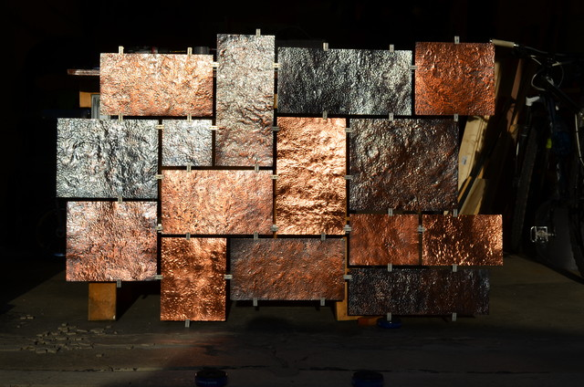 Hammered Copper Wall Art Modern Artwork Milwaukee By Fabitecture LLC