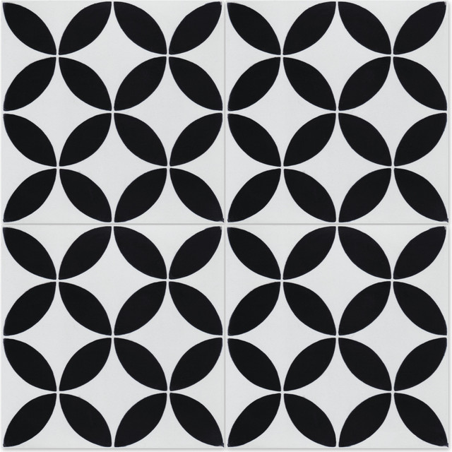 8 x8 circulos b black and white morning handcrafted cement tiles set of 16