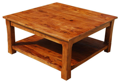 sierra nevada 2 tier large rustic square coffee table