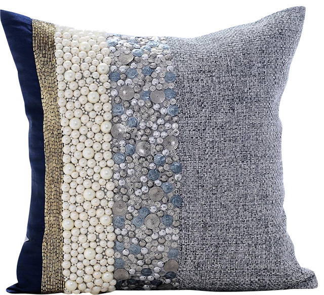 blue throw pillow covers 16 x16 cotton navy pearlized