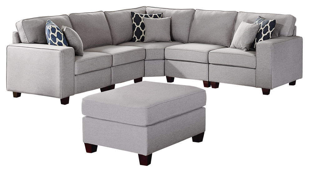 sonoma 6pc modular sectional sofa ottoman in light gray linen