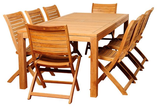 Bradley 9-Piece Teak Rectangular Patio Dining Set