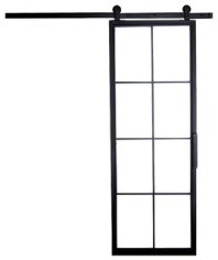 Artisan Hardware French Panel Barn Door, 3'x7', Black, Frosted Glass