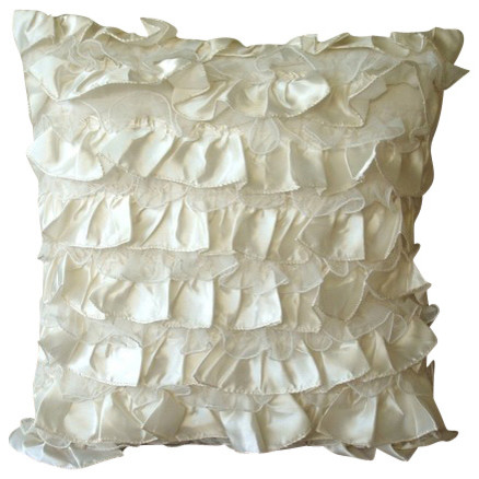 ivory vintage style ruffles 14x14 satin pillows covers for couch vintage heaven