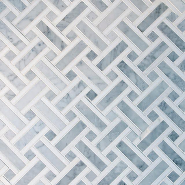 basket weave carrara marble mosaic tile box of 5