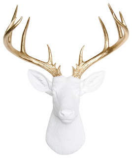 Wall-Mounted Faux Deer Head, White and Gold