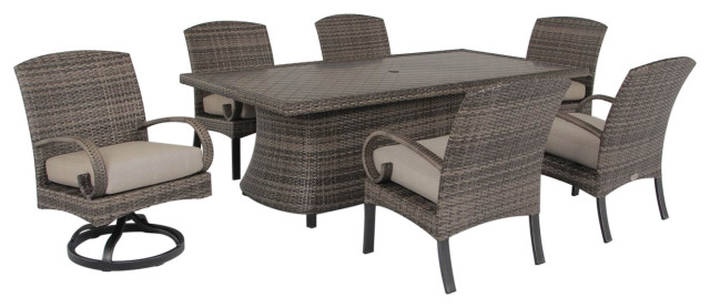 barcalounger captiva isle 7 piece dining set with swivel host chair