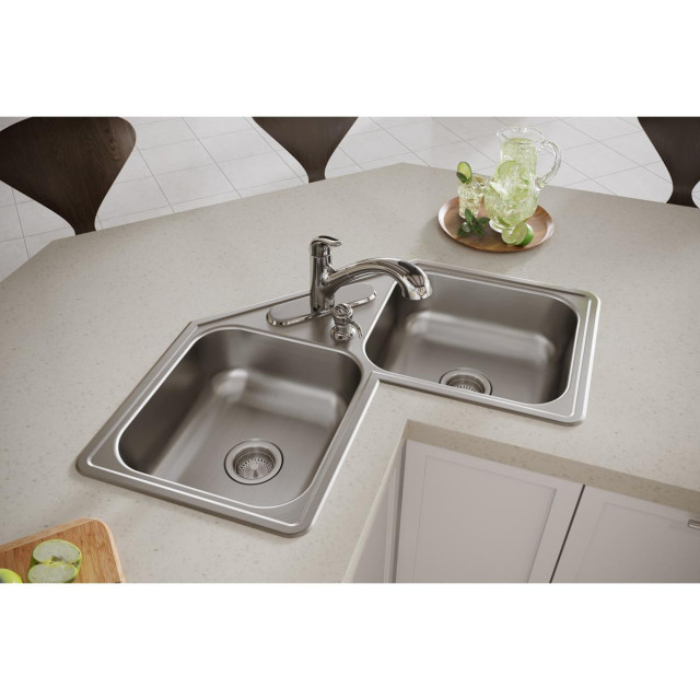 de217324 dayton stainless steel 31 7 8 double bowl corner sink 4 holes