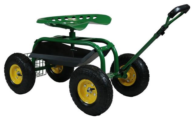 Sunnydaze Rolling Garden Cart With Extendable Steering