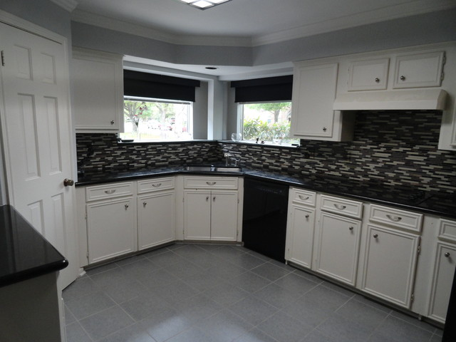 Kitchen Glass Mosaic Tile Floor Tile Paint Before And After