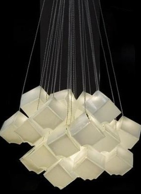 Contemporary White Glass Chandelier Light Cubes Art By Galilee Modern Living