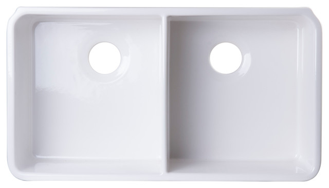 ALFI Brand AB512UM 32 White Double Bowl Fireclay Undermount Kitchen Sink Contemporary